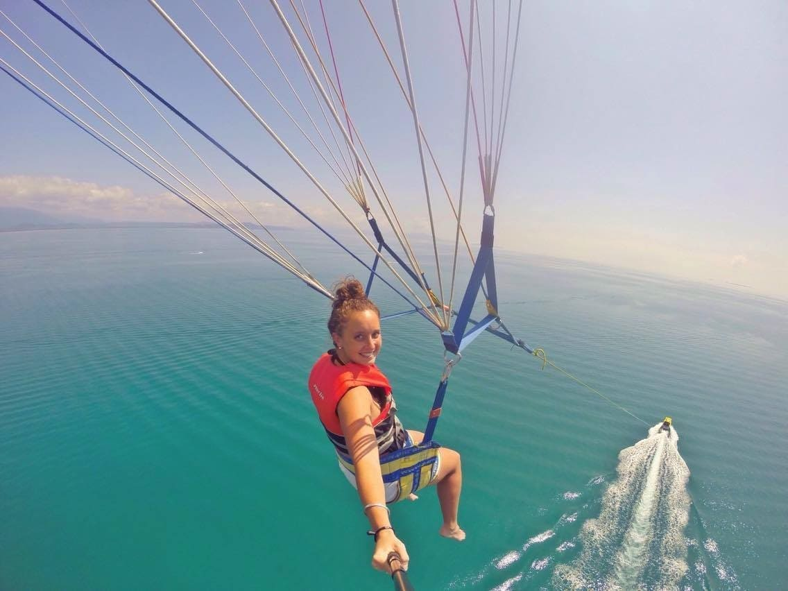Parasailing Port Douglas above the Great Barrier Reef views of Low Isles Daintree Rainforest