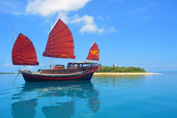 Shaolin Port Douglas traditional Chinese junk sail to Low Isles coral cay snorkel
